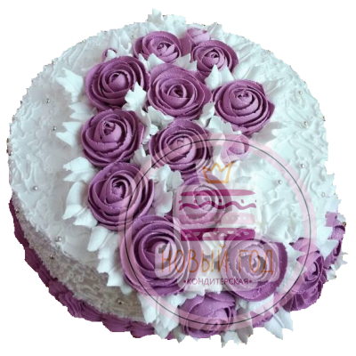 Торт с сиреневыми розами