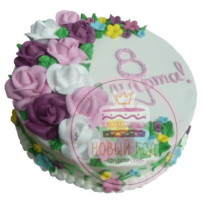 Торт с розами на 8 марта