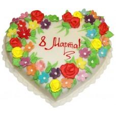 Торт в виде сердца на 8 марта