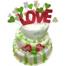 Торт с надписями и сердечками
