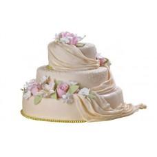 Торт со шлейфом и цветами