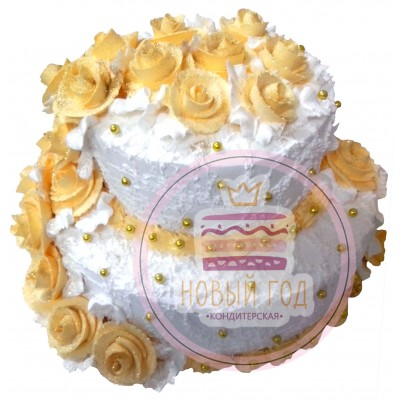 Кремовый торт с желтыми розами