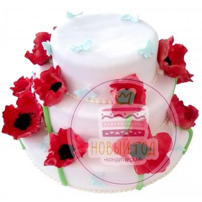 Торт с маками и бабочками