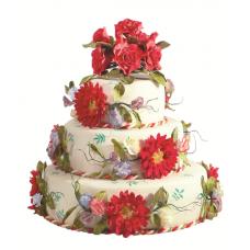 Торт с аппликациями цветов