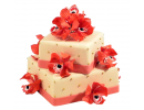 Квадратный торт с красными орхидеями