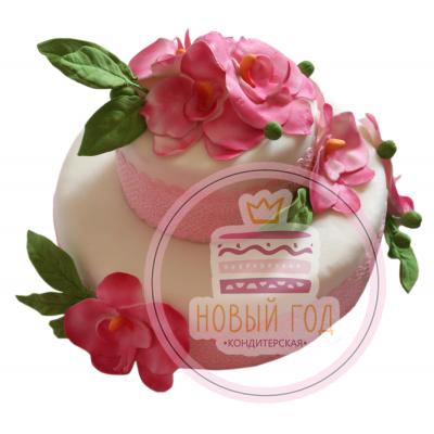 Торт «Розовые орхидеи»