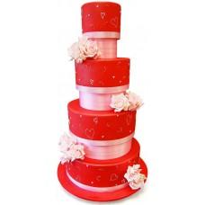 Красный свадебный торт с розами