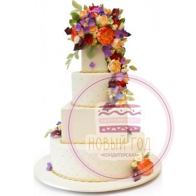 Торт с букетом осенних цветов