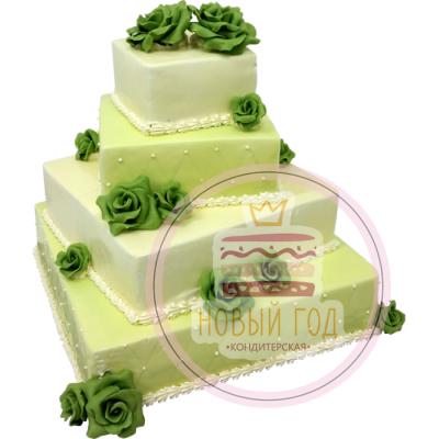 Торт с зелёными розами