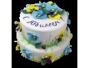 Торт с голубыми и желтыми незабудками