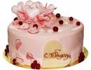 Глянцевый торт с пионами и ягодами