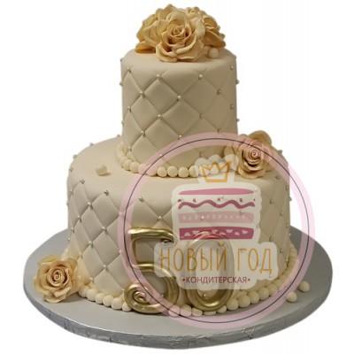 Торт с золотым числом 50 и розами