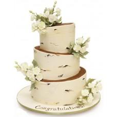 Торт в стиле березы с цветами
