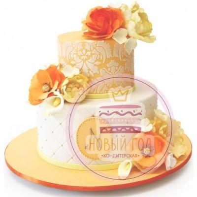 Торт с жёлтыми розами и инициалами
