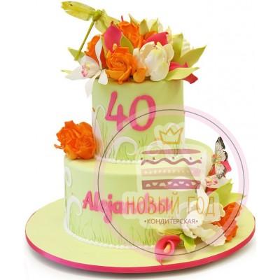 Торт с тюльпанами и стрекозой на 40 лет